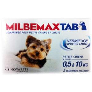univers veto Milbemax Tab vermifuge pour petits chiens et chiots 2 comprimés
